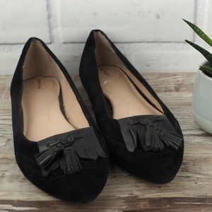 Lands End sz 8 black suede tassel ballet  flats